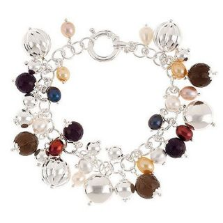 Arte DArgento Sterling Silver Multigemstone 8 Charm Bracelet