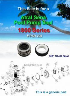 Astral Sena 1800 Series POOL PUMP Replacement Shaft Seal PSR 200
