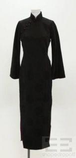 Shanghai Tang Black Jacquard Silk Asymmetrical Button Long Dress