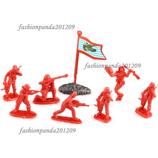 Walkie Action Figures Army Men with Flag XE2 Plastic Red Toy Soldiers