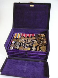 Military Treasure Box Medals Ribbons Pins USA Foreign 19th Century WW1