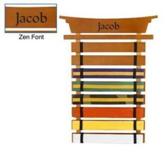 KARATE MARTIAL ARTS 8 BELT HOLDER DISPLAY WALL RACK w PERSONALIZED