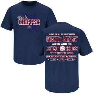 Atlanta Braves Thanks You Chipper Jones Blue T Shirt Size s 3XL