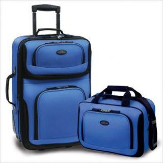 Traveler Rio 2 pc Expandable Carry On Luggage Set NWT Royal Blue