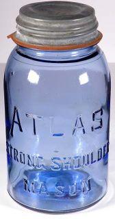 Strong Cornflower Blue Quart Atlas SS Mason Fruit Jar