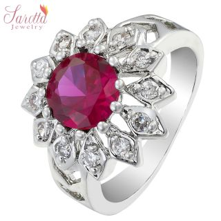 NEW ARRIVALS WEDDING ROUND CUT 18K WHITE GOLD PLATED RED RUBY FASHION