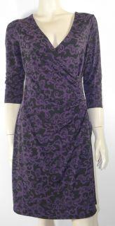 Laura Ashley Purple Black Stretch Dress Cross Over V Neck Front 3 4