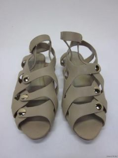 Loeffler Randall Audra Tan Leather Snap Button Caged Wedge Sandals