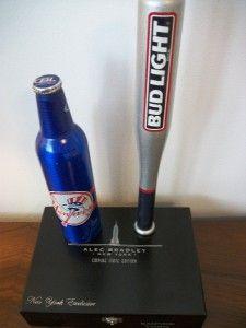 RARE New York Yankees & Bud Baseball Bat Tap Handle w FREE DISPLAY bar