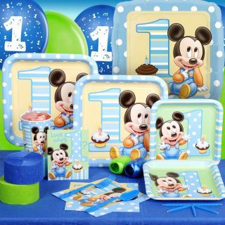 MICKEY MOUSE 1ST FIRST BIRTHDAY PARTY PACK FOR 8 PARTYWARE PARTY