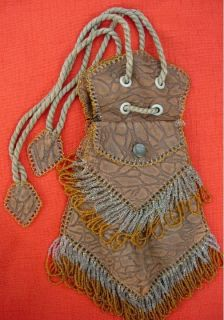 Arts Crafts Tooled Leather Purse with Beaded Fringe