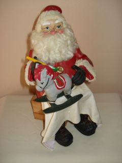 Vintage Folk Art Paper Mache Santa with Rocking Horse Decorative