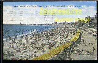 Atlantic City NJ Crowded Beach View Old Postcard New Jersey
