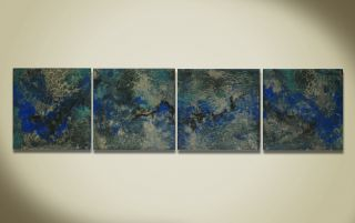 Contemporary Modern Artwork Blue Abstract Metal Wall Art Decor Unique