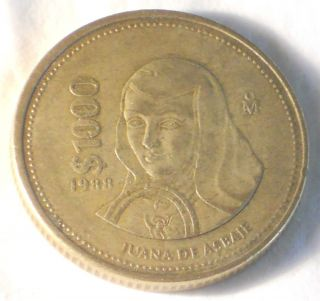 Mexico 1988 $1000 Pesos Coin Juana de Asbaje First Year of Issue
