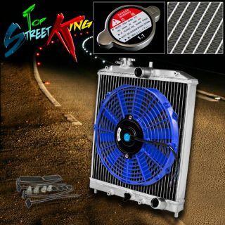 Row Aluminum Racing Radiator 12 Fan 92 00 Civic EK Del Sol 94 01