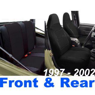1997 02 Neoprene Front Rear Car Seat Cover Full Set Black TJ127
