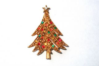 Askew London Gold Crystal Christmas Tree Brooch Pin