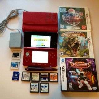 Nintendo 3DS Flame Red w/ 11 Games Resident Evil Revelations