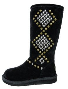 New UGG Avondale 3330 Classic Sheepskin Suede Tall Boots Black Studs