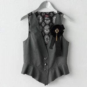 Abbey Dawn Avril Lavigne Alice in Wonderland Gray Vest Top Large L