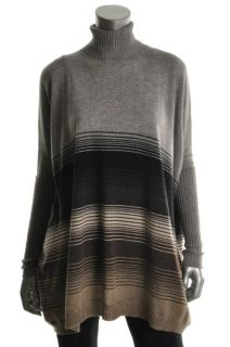 Autumn Cashmere New Grey Striped Cashmere Turtle Neck Batwing Pullover