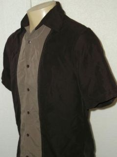Axist 100 Silk 2Tone Retro Club Swing Lounge Bowling Shirt Mens S
