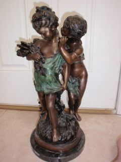 Large Auguste Moreau Bronze Whispering Children Sculpture Marble Base