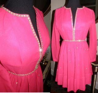 Vintage 1960s Cocktail Formal Party Mini Dress Hot Pink s M Gorgeous