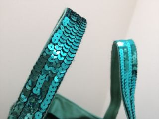 Vanessa Bruno BNWT Jade Green Sequin Canvas Cabas Moyen Tote Bag