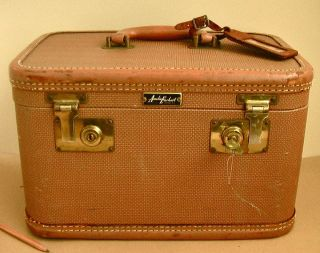 EARHART Leather Tweed TRAIN CASE Small Suitcase Luggage Cosmetic Bag