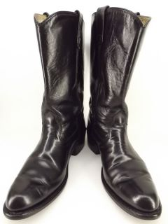 Mens cowboy boots black leather HH Double H 10 B classic western