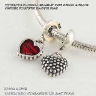 AUTHENTIC PANDORA BRACELET STERLING SILVER MOTHER DAUGHTER HEART