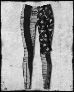 Abbey Dawn Avril Lavigne Black Grey White Flag Zip Strap Stars Stripes