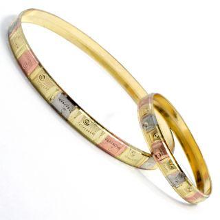 Set Gold 18K GF Three Tone Bangle Bracelet New Born Baby Girl Mom