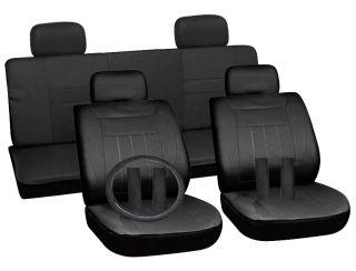 15pc Set Solid Black Auto Car Seat Covers Free Steering Wheel Belt Pad