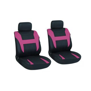 25pc Complete Set Pink Black Auto SUV Seat Covers Wheel + Belt Pads