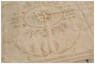 FREE SHIP! 4X6 Aubusson Area Rug ANTIQUE PASTEL BEIGES Wool Woven