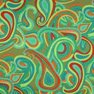 Kaffe Fassett Collective Dancing Paisley Green Fabric