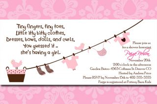 Pink Damask Tiny Fingers Tiny Toes Baby Shower Invitation Card