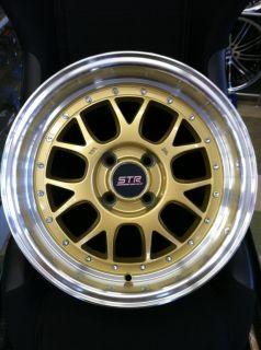 str wheels str502 15x8 4x100 10 gold and machined lip set of 4 wheels