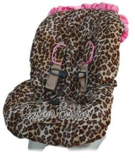 LEOPARD Hot Pink Ruffled Minky Baby Car Seat Cover Universal Fit Most