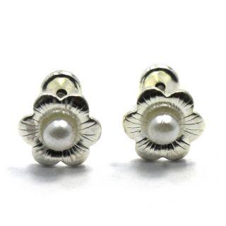 Sterling Silver 925 Baby Girl Earrings 2mm White Pearl Flower Security