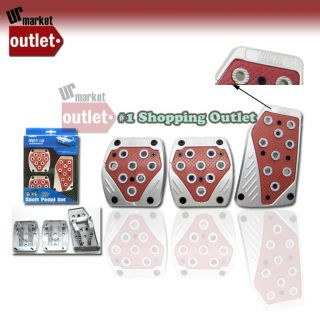 Red Universal Manual Transmission Auto Brake Gas Clutch Race Pedal