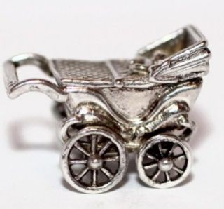 Moves Baby Stroller Carriage Vintage Sterling Silver Bracelet Charm