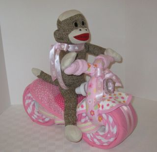 DIAPER CAKE,BABY CAKE, SOCK MONKEY,MOTORCYCLE,CYCLE,BABY SHOWER GIFT