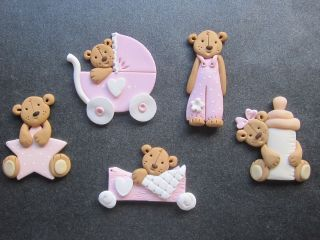 Baby Girl Teddy Bear Card Toppers Scrapbook Embellishments Girl