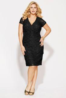 Avenue Plus Size Sequined Lace Tier Dress
