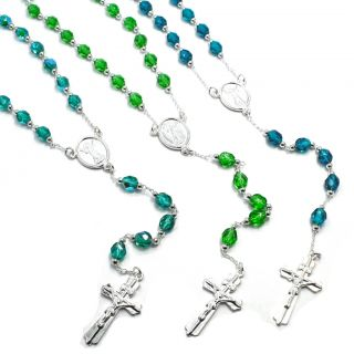 Sterling Silver Filled 925 Crystal Rosary Green Blue Jesus Christ