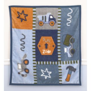 COCALO PLAY ZONE BABY BLANKET & WALL STICKERS 5 PC. TOOL TRUCK BOYS
